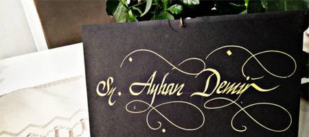 davetiye yazısı, davetiyeye yazı yazma, davetiye kaligrafi yazısı, davetiye hat yazısı