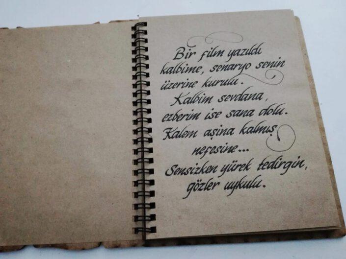 defter kaligrafi yazısı, deftere el yazısı yazma, kaligrafi yazılı defter, hat sanatı yazılı defter