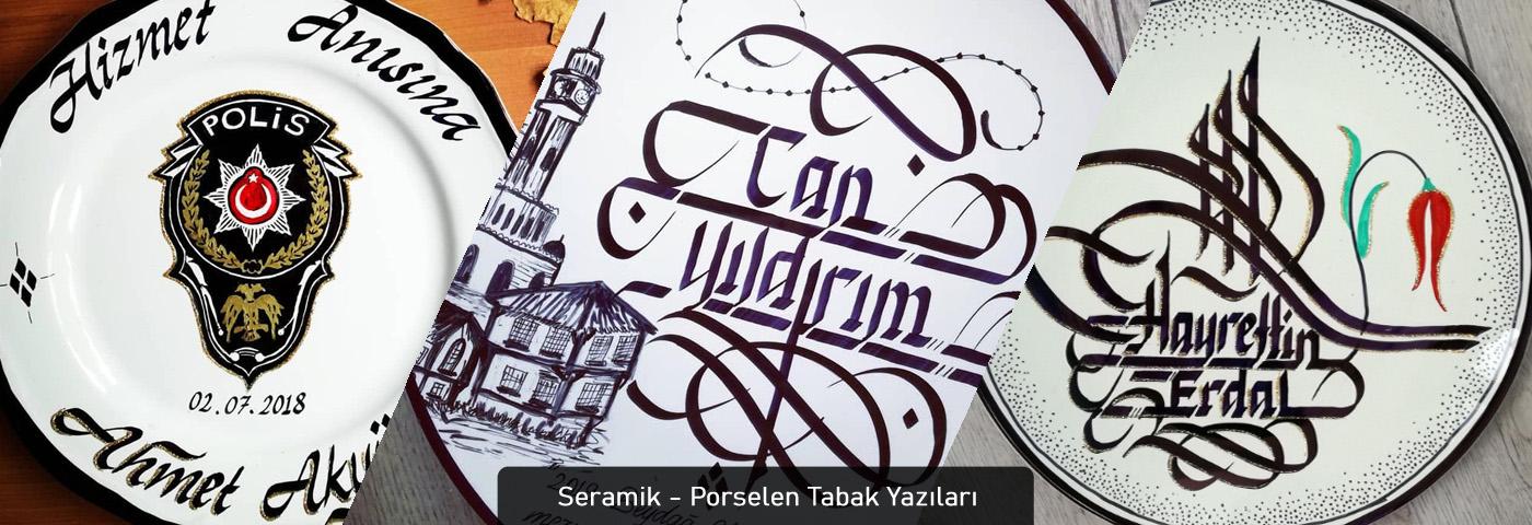 porselen tabak yazısı, seramik tabak yazısı, porselen tabak kaligrafi, porselen tabak hat yazı